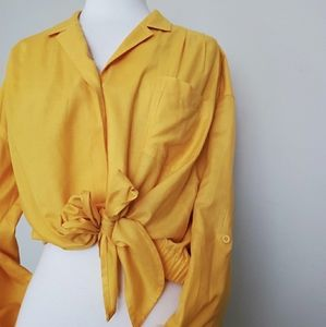 Yellow Gold Tie-Up Button Down Blouse Size 10
